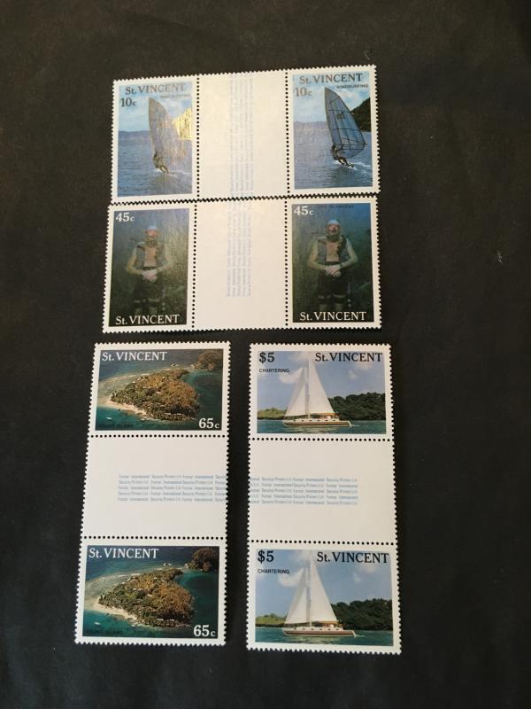 St. Vincent 2015 Sc. #1095-98 Cpl. Mint Set in Gutter Pairs - VF-NH TourismVF-NH