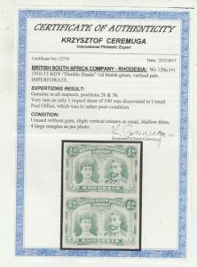 RHODESIA 1910 KGV DOUBLE HEAD 1/2D EXTREMELY RARE IMPERF PAIR WITH CERTIFICATE