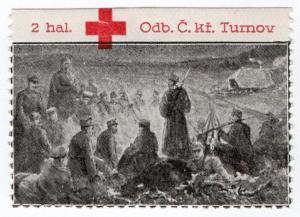 (I.B) Czechoslovakia (Great War) Cinderella : Red Cross 2h (Turnov-Turnau)