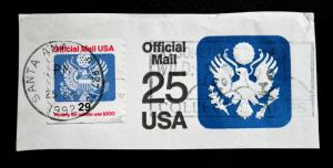 U.S. Stamped Envelope Sc# UO77 Used Cut Square Uprated with Sc# O145 Used