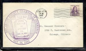 US #724-7 Penn 1st Delaware C of C cachet addressed Chester