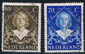 Netherlands 304-05 Used set Queen Juliana 1948 (N0681)