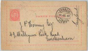75381 - PORTUGAL - POSTAL HISTORY -  POSTAL STATIONERY  CARD  to GB -- 1887
