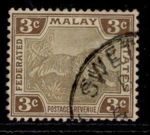 MALAYSIA - Federated Malay EDVII SG16b, 3c grey-brown & brown, FINE USED.