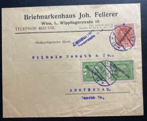 1919 Vienna Austria Commercial Censored Cover To Amsterdam Netherlands