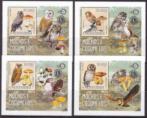 Sao Tome and Principe, Fauna, Birds, Owls, Mushrooms LUX S/S MNH / 2006