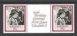 1986 Scouts Kiribati Girl Guides QE II birthday gutter pair
