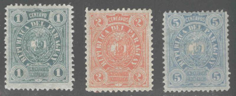 Paraguay Scott 20-22 MH* 1884 MH* and MNG