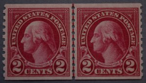United States #599 Two Cent Washington Coil Line Pair MNH