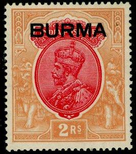 BURMA SG14, 2r carmine & orange, VLH MINT. Cat £48.