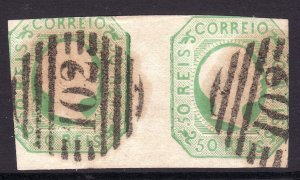 1855 Portugal King Pedro V used imperf pair SON 102 cancel CV Sc# 7 $140.00