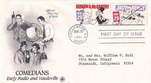 1991, Comedians-Jack Benny, Bergen & McCarthy, PCS, FDC (E11437)
