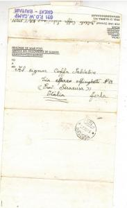 1945 Postwar Letter Cover POW Camp 621 England to Italy Prisoner of war