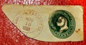 USA U84 3c Green on Cream cut square used