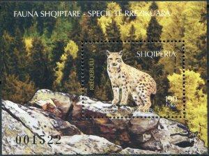 Albania 2017. Eurasian Lynx (Lynx lynx) (MNH OG) Souvenir Sheet