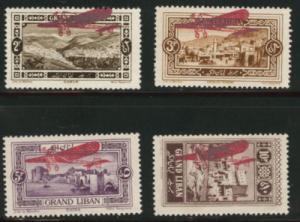 Lebanon Scott C13-16 MH* 1926 Airmail Overprints C13 has ...