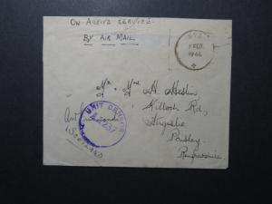 India 1945 Forces Cover / APO 593 / Censored (I) - Z12424