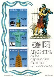 Argentina 1993 TANGO Philatelic Exhibitions s/s Perforated Mint (NH)