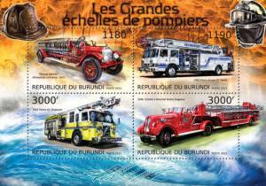Burundi - Fire Engines - 4 Stamp Sheet - 2J-396