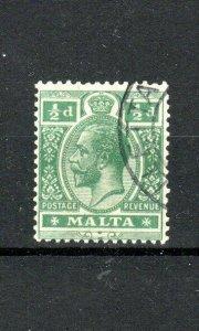 Malta 1922 1/2d green FU CDS