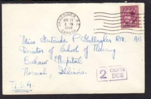 Canada to Normal IL 1949 Postage Due Cover
