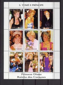 St.Thomas and  Prince 1997 Diana Princess Shlt(9) MNH Sc # 1308
