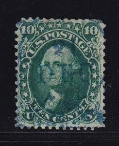 62B F-VF used neat light blue cancel with nice color cv $ 1675 ! see pic !