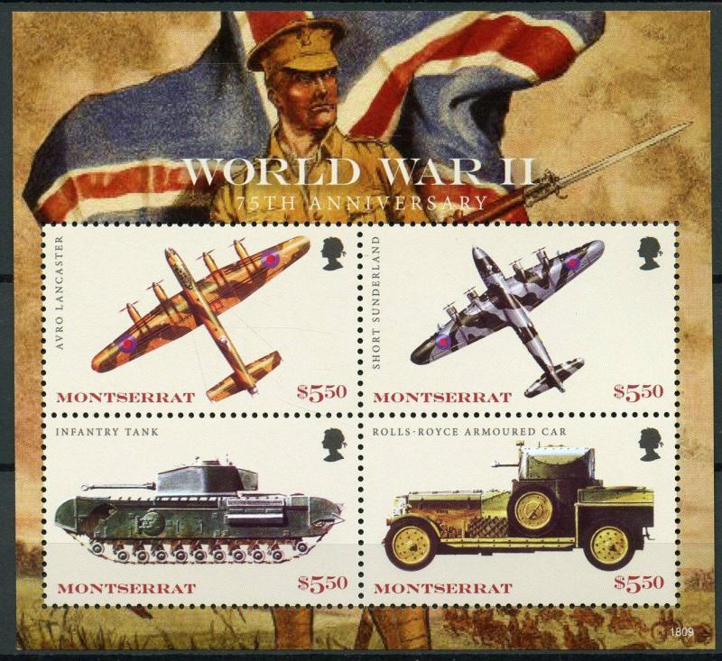 Montserrat 2018 MNH WWII WW2 World War II 4v M/S Military Aviation Tanks Stamps