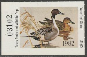 U.S.-TEXAS 2, STATE DUCK HUNTING PERMIT STAMP. MINT, NH. VF