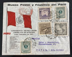 1937 Lima Peru Inter American Conference Cover To Uster Switzerland Sc#C45-8