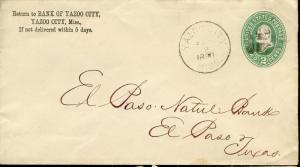 US BANK OF YAZOO CITY, MISS 9/2/90 PS COVER TO EL PASO, TX 5/5/1890 AS SHOWN