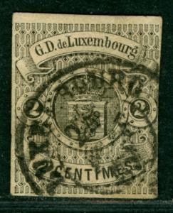 LUXEMBURG 1860  Coat of Arms  2c black   Scott # 5 used