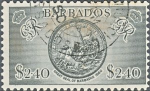 Barbados 1950 KGVI $2.40 Seal of Barbados VFU Slight Toning