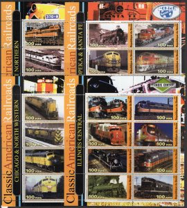 Classic American Railroads Trains 8 Sheetlets of 8 Stamps Perforated MNH 2003