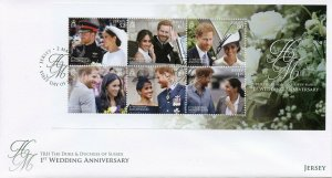 Jersey 2019 FDC Prince Harry Meghan 1st Wedding 6v M/S Cover Royalty Stamps