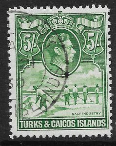 TURKS & CAICOS ISLANDS SG204a 1944 5/= DEEP GREEN USED