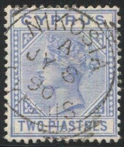 CYPRUS 1882 Sc 22, Used VF 2pi QV, NIKOSIA / A 1890 postmark cancel