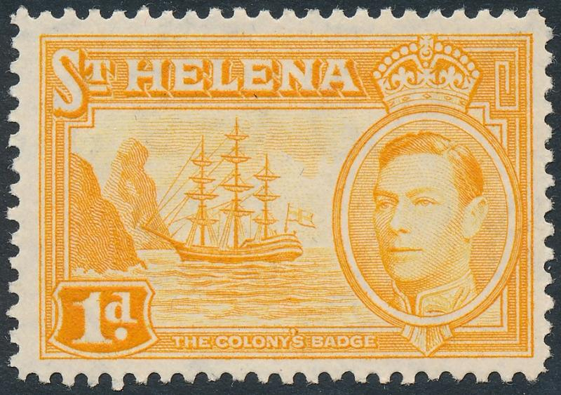 St Helena 1940 1d Yellow-Orange SG132a MH 2
