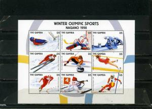 GAMBIA 1997 Sc#1555 WINTER OLYMPIC GAMES NAGANO SHEET OF 9 STAMPS MNH