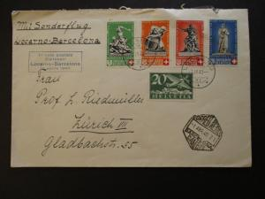 1940 Switzerland Locarno to Barcelona First Flight Airmail Multi Franking Cover