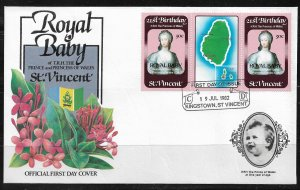 1982 St. Vincent #652 Birth of Prince William pair with label FDC