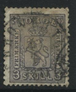 Norway 1868 3 skilling gray lilac CDS used