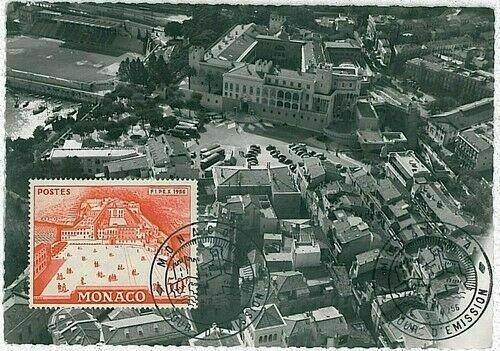 14713 - MONACO  - POSTAL HISTORY -  MAXIMUM CARD -  ARCHITECTURE  1956
