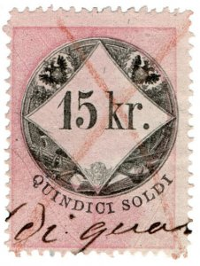 (I.B) Austria/Hungary Revenue : Stempelmarke 15kr (Lombardy-Venetia)