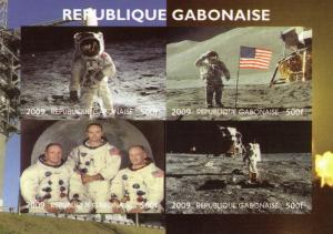 Gabon 2009 SPACE Astronauts Sheet Imperforated mnh.vf