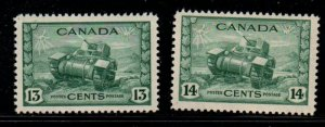 Canada Sc 258-9 1942-3 13 & 14 c tank stamps mint NH