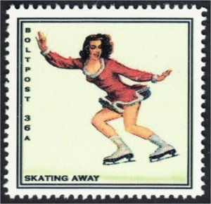 Figure Skater Skating Away Fantasy Stamp Artistamp by BoltPost Local Post