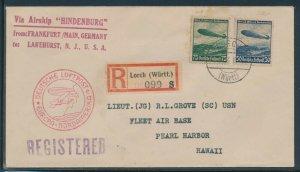 FIRST FLIGHT HINDENBURG MAY 1930 TO PEARL HARBOR, HAWAII BV1949