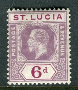 ST.LUCIA; 1912 early GV issue fine Mint hinged Shade of 6d. value