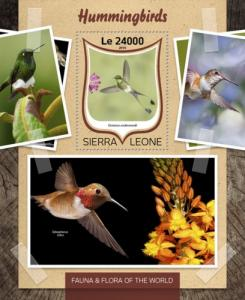 SIERRA LEONE 2016 SHEET HUMMINGBIRDS COLIBRIS BIRDS srl16810b